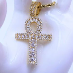 """Icy Egyptian Ankh + 18"""" Rope Chain"""